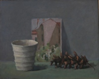 Cup, Card, Cone, oil on board, 8 x 10 in.