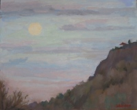 Evening at East Rock, oil on board, 8 x 10 in.