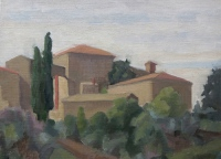 San Antimo, oil on paper on board, 7.5 x 9.5 in.