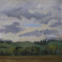 Storm Clouds, oil on paper on board, 8 x 8 in.