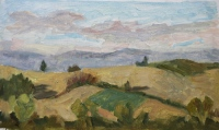 View from Piana, oil on paper on board, 9.5 x 5.5 in.