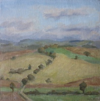 View from the Borgo, oil on paper on board, 8 x 8 in.
