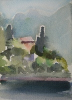 Lake Como, watercolor, 7 x 5 in.