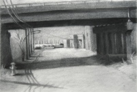 Overpass, charcoal, 10 x 12 in.