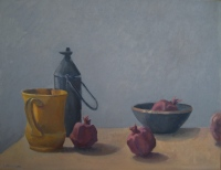 Pitcher and Pomegranates, oil on linen, 14 x 18 in.