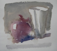 Red Onion, watercolor, 5.5 x 6 in.