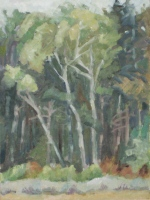 Trees, oil on linen on board, 12 x 9 in.