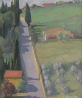 View from the Badia, oil on board, 11.75 x 9.75 in.